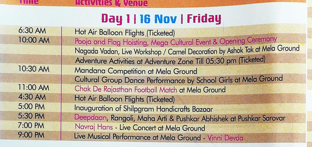 Pushkar Camel Fair - Festival Itinerary - Day 1