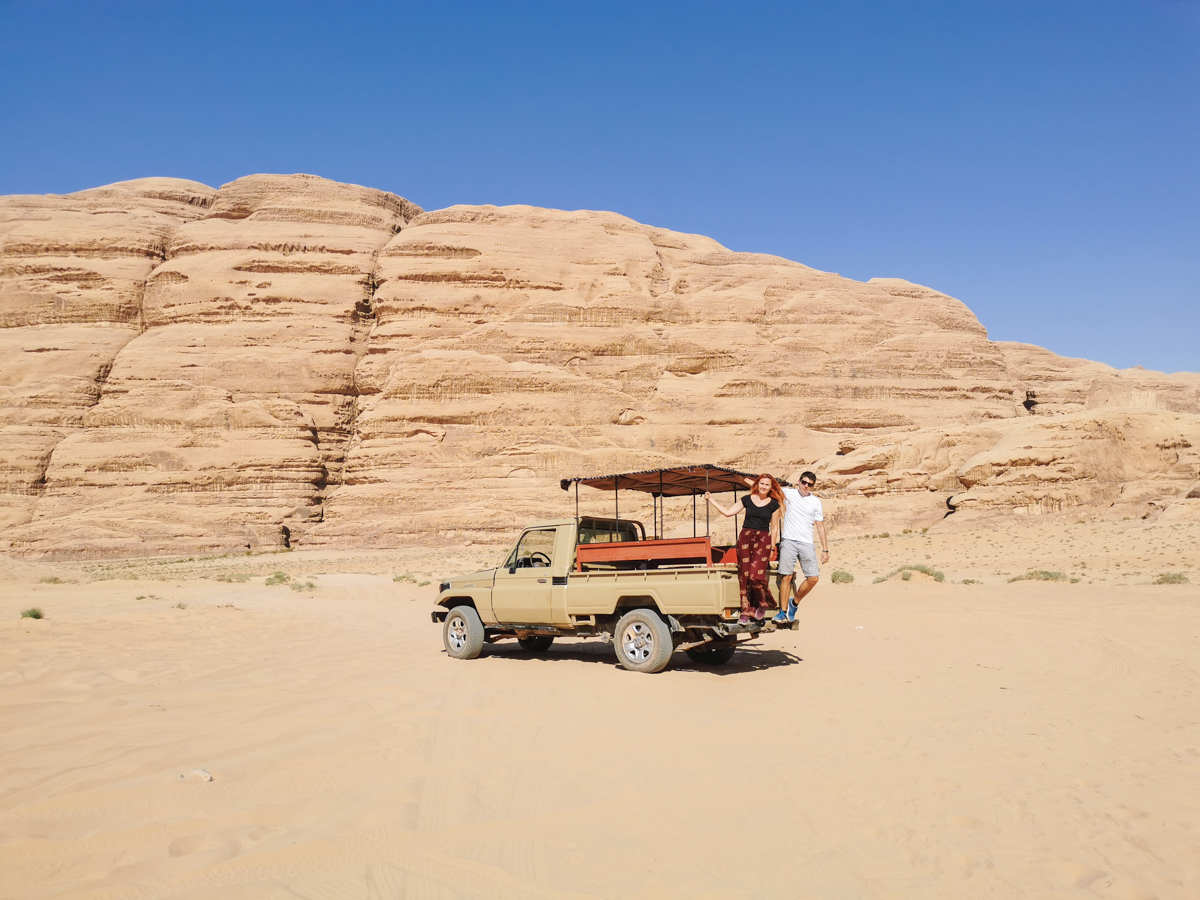 Exploring the Wadi Rum Desert with a jeep