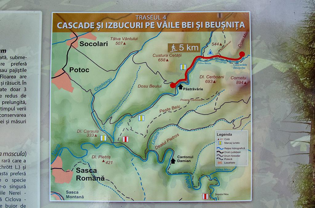 Lake Ochiul Bei & Beusnita Waterfall trail map