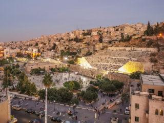 Roman Theater Amman at sunset