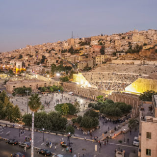 Roman Theater Amman at sunset