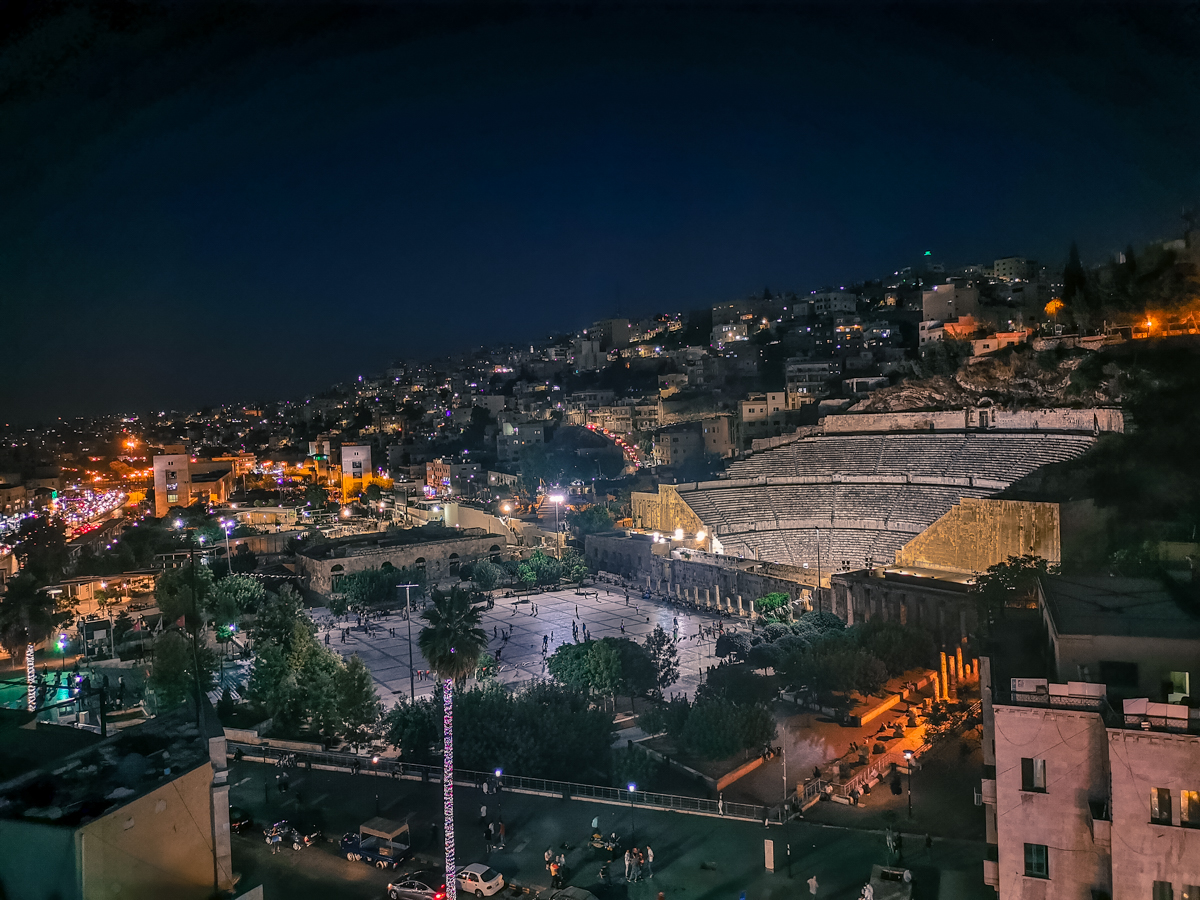 Roman Theater Amman at night